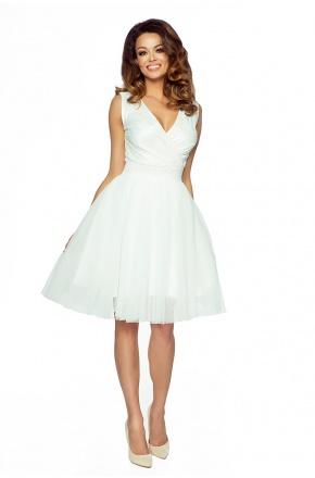 Tiulowa sukienka z koronkową górą KM141-2
