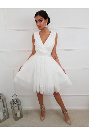 Ślubna tiulowa sukienka z koronkową górą KM141-2