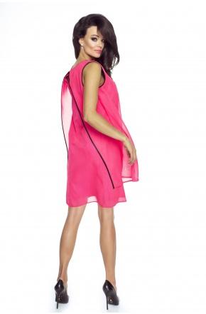 Warstwowa sukienka z szyfonu KM187 róż