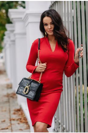 Sukienka dzianinowa z dekoltem KM08-1