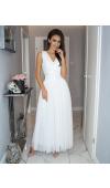 Elegancka, biała sukienka maxi na wyjątkowe okazje!