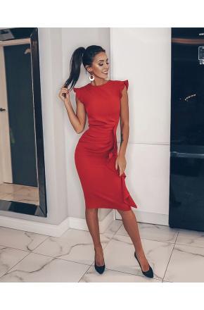 Czerwona wizytowa sukienka z falbaną na wesele Km66-1