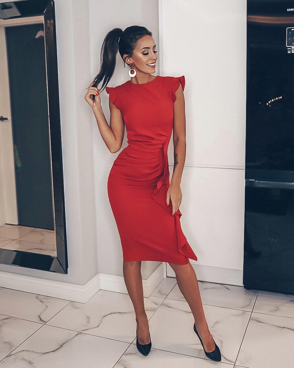 Czerwona wizytowa sukienka z falbaną na wesele Km66 1 ❤ Kartes Moda ❤