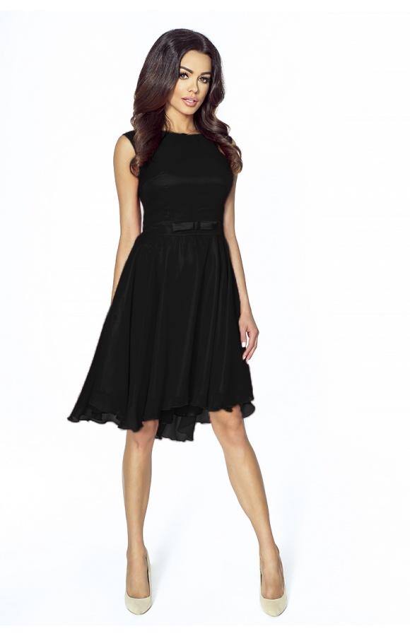 eb567f428e Koktajlowa sukienka z szyfonu z kokardą km208