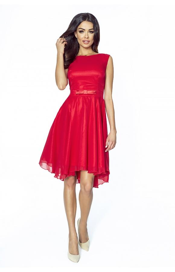 0d65288a02 Koktajlowa sukienka z szyfonu z kokardą km208