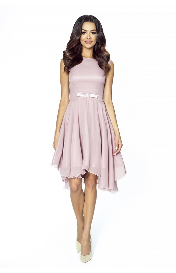 b767479085 Koktajlowa sukienka z szyfonu z kokardą km208