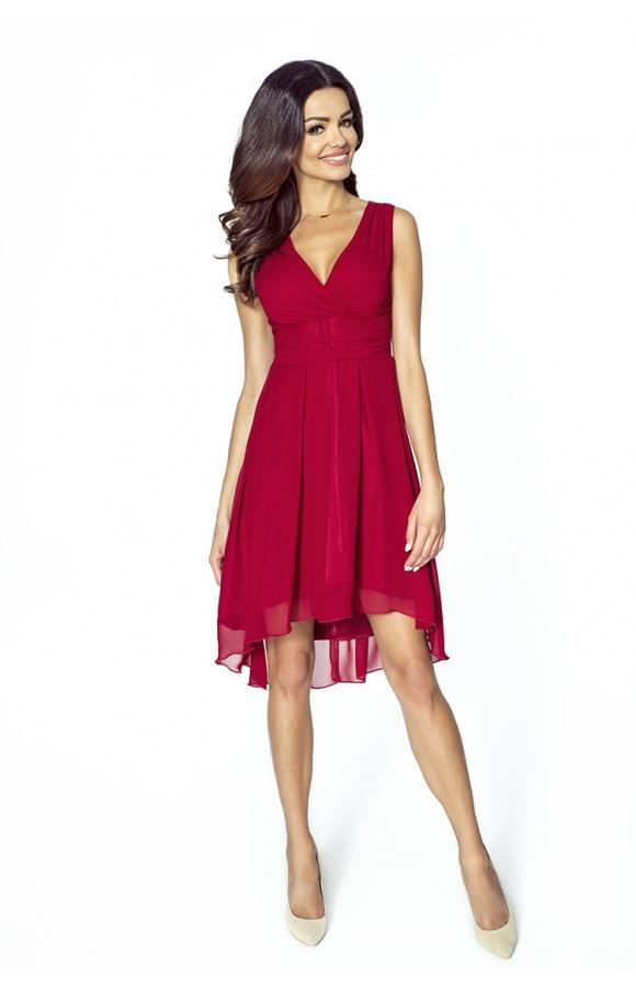 99a71dfc87 Bordowa asymetryczna sukienka na wesele km154-4 - ❤ Kartes-Moda ❤