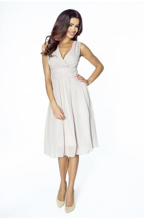 Sukienka z szyfonu kopertowy dekolt NA WESELE Km117-9 NUDE