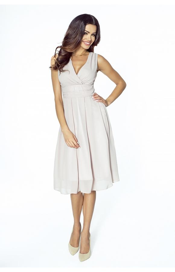 3e641a6ef4 Sukienka z szyfonu kopertowy dekolt NA WESELE Km117-9 NUDE - ❤ Kartes-Moda ❤