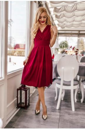 Sukienka z szyfonu kopertowy dekolt NA WESELE Km117-10 bordo