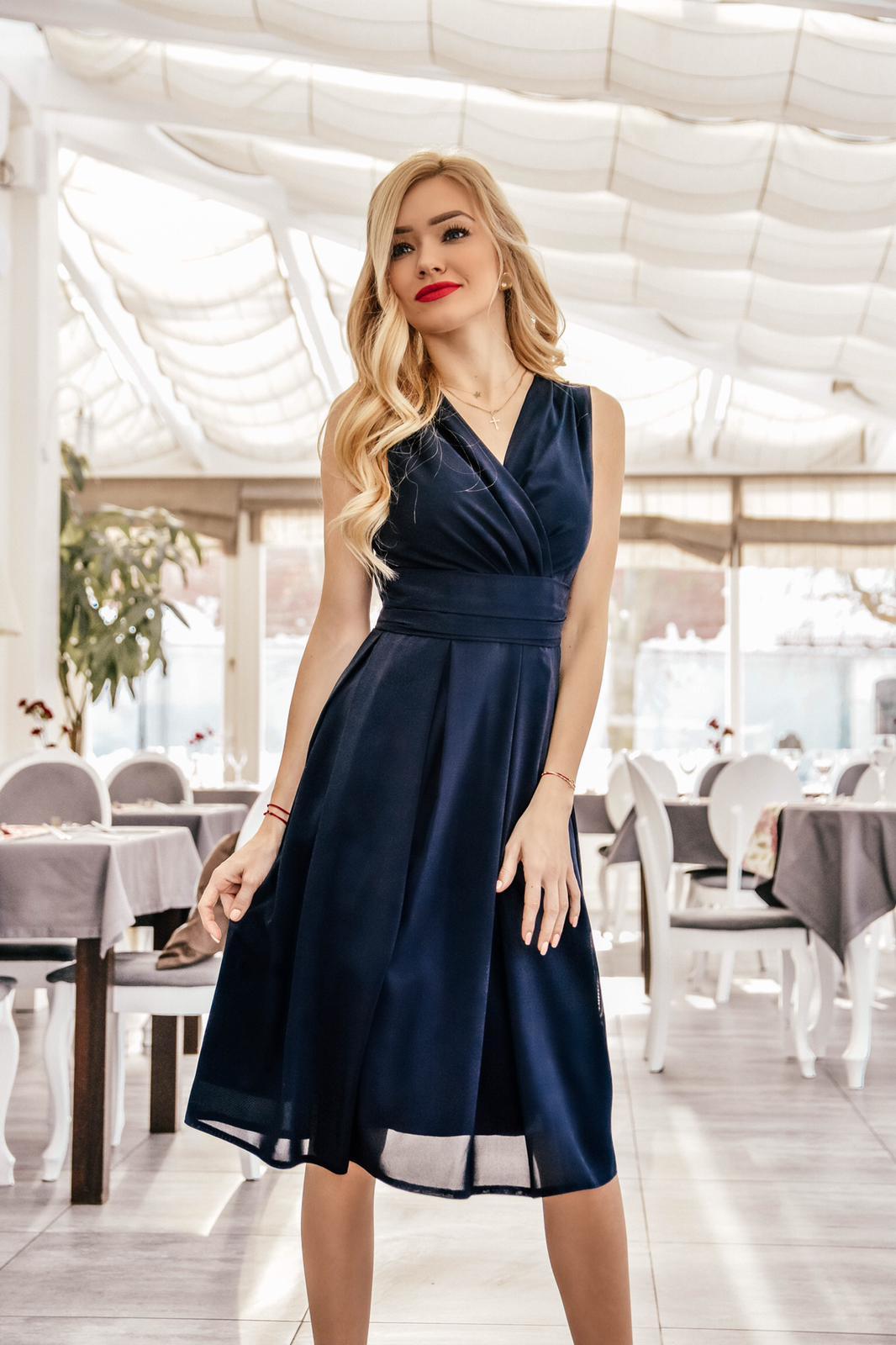 ac5ff46de2 Sukienka z szyfonu kopertowy dekolt NA WESELE Km117-11 GRANAT ...