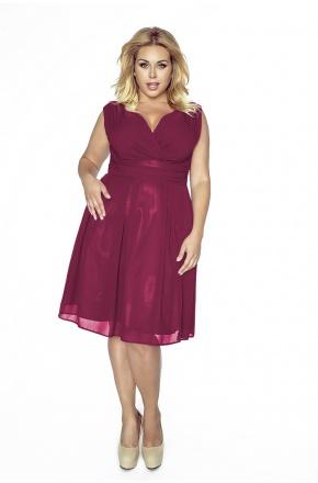 Sukienka z szyfonu kopertowy dekolt KM117-5PS bordo