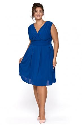 Sukienka z szyfonu kopertowy dekolt KM117-4PS chaber