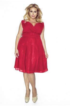 Sukienka z szyfonu kopertowy dekolt KM117-3PS czerwień