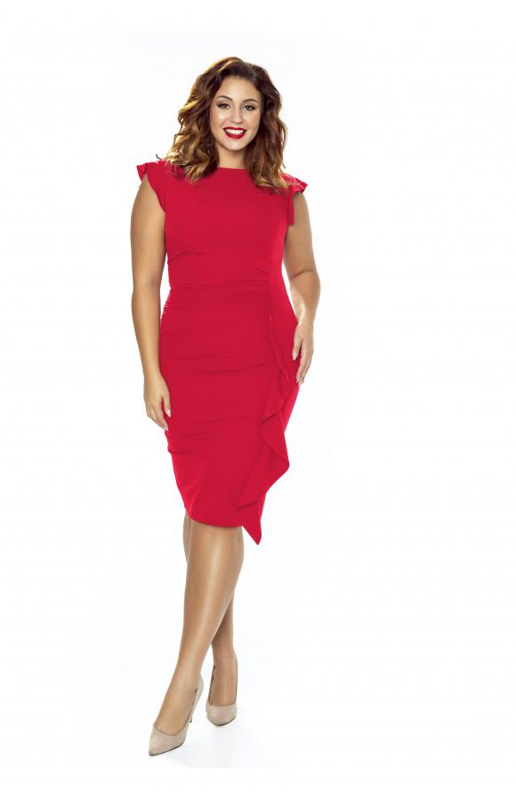 7b0d4324d3 Czerwona wizytowa sukienka z falbaną na wesele Km66-1ps - ❤ Kartes ...