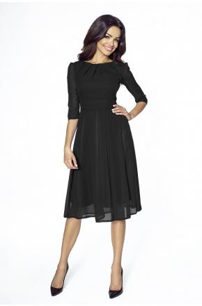 Czarna koktajlowa sukienka z szyfonu km211