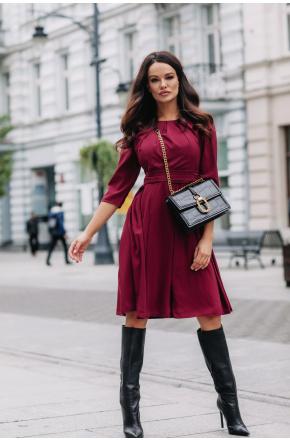 Sukienka Bordowa Koktajlowa z szyfonu km211-4