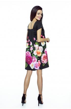 Trapezowa sukienka w róże km222