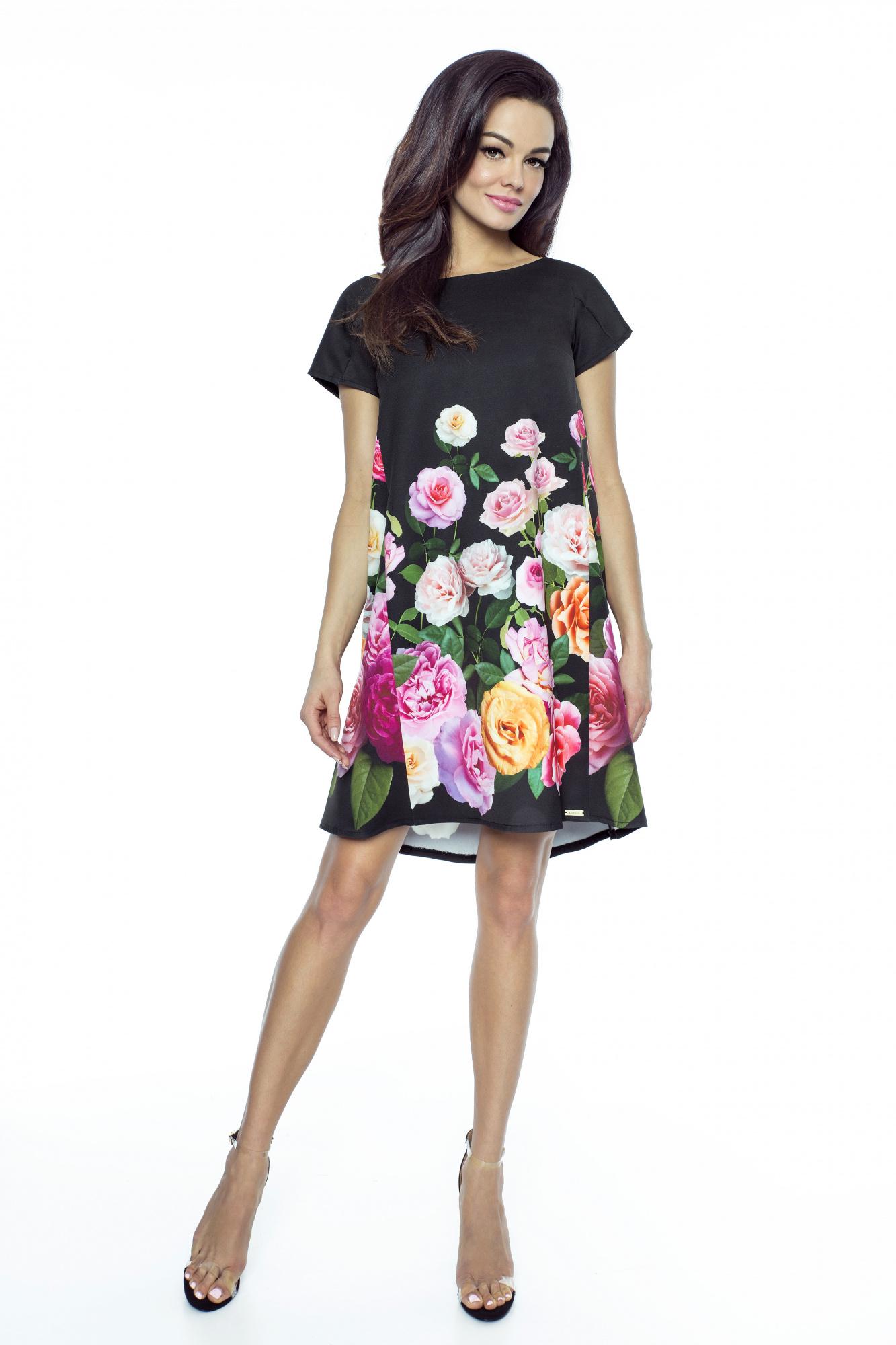 22ff7999b5 Trapezowa sukienka w róże km222 - ❤ Kartes-Moda ❤