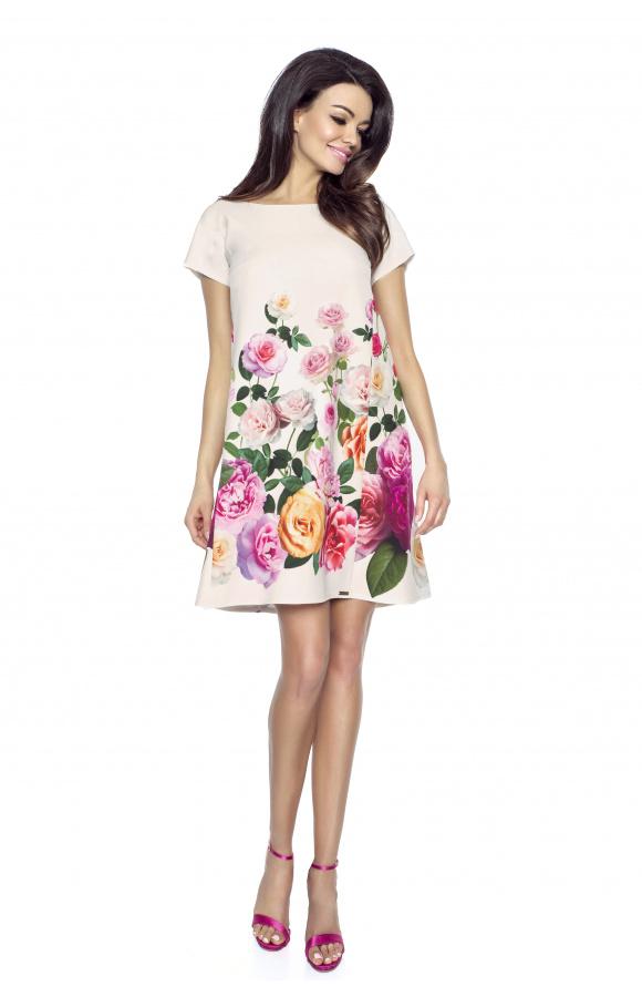 Trapezowa sukienka w róże km222 1