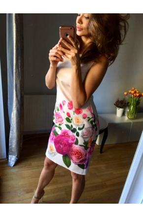 Klasyczna sukienka z zamkiem w kwiaty km221-1