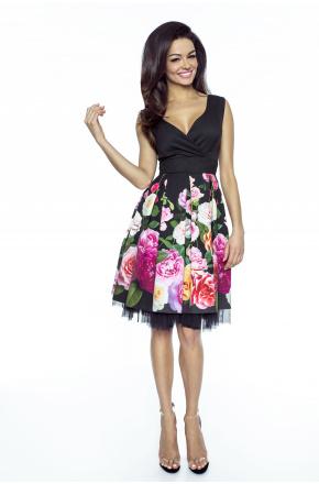 Rozkloszowana elegancka sukienka w kwiaty km223