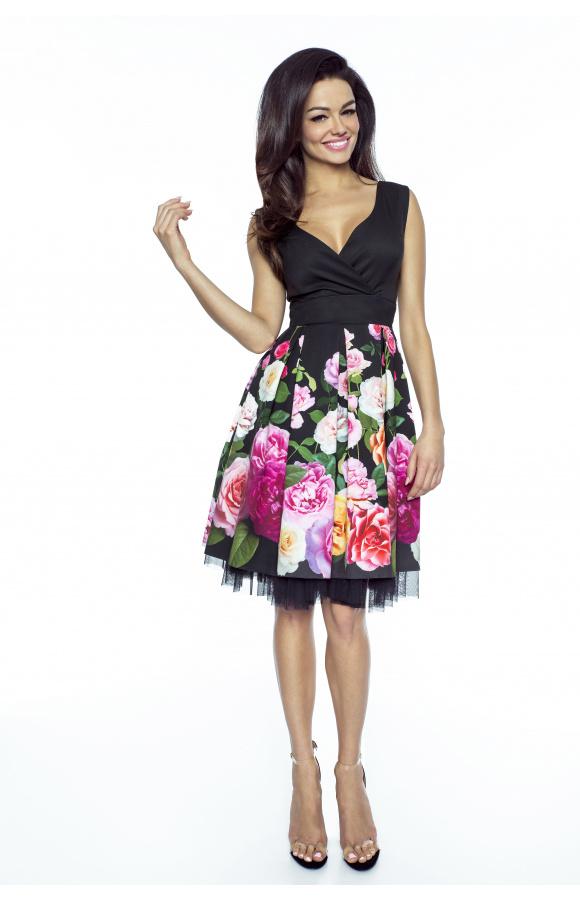 4783cb5833 Rozkloszowana elegancka sukienka w kwiaty km223 - ❤ Kartes-Moda ❤