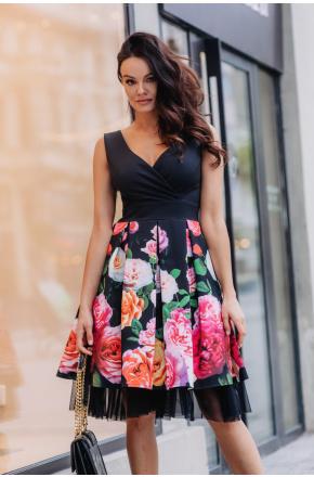 Sukienka Rozkloszowana elegancka w kwiaty km223