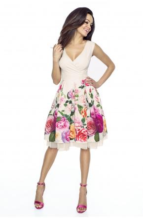 Rozkloszowana elegancka sukienka w kwiaty km223-1