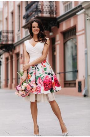 Sukienka Rozkloszowana elegancka w kwiaty km223-1