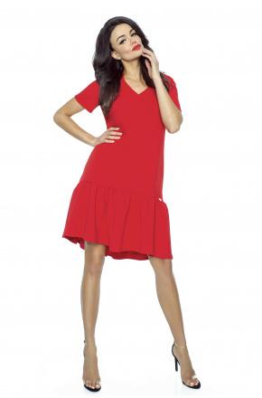 Oversizowa sukienka z falbaną KM226-1 CZERWIEŃ