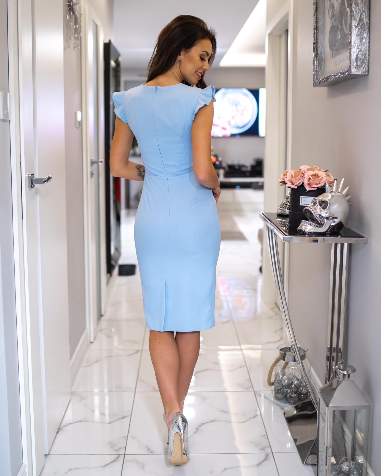 126fe47083 Wizytowa sukienka z falbaną na wesele Km66-5 - ❤ Kartes-Moda ❤