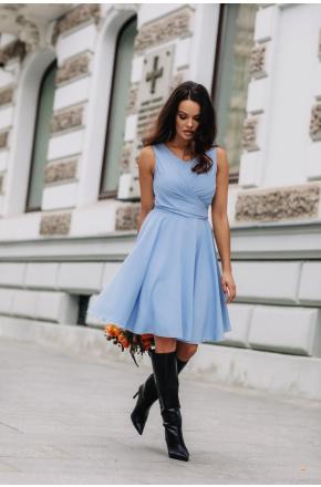 Sukienka Cudowna z szyfonu KM227-3 BŁĘKIT