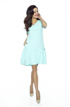 Oversizowa sukienka z falbaną KM226-3 MIĘTA