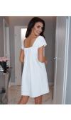 Fantastyczna, kremowa sukienka mini o trapezowym kroju, z krótkim rękawem.