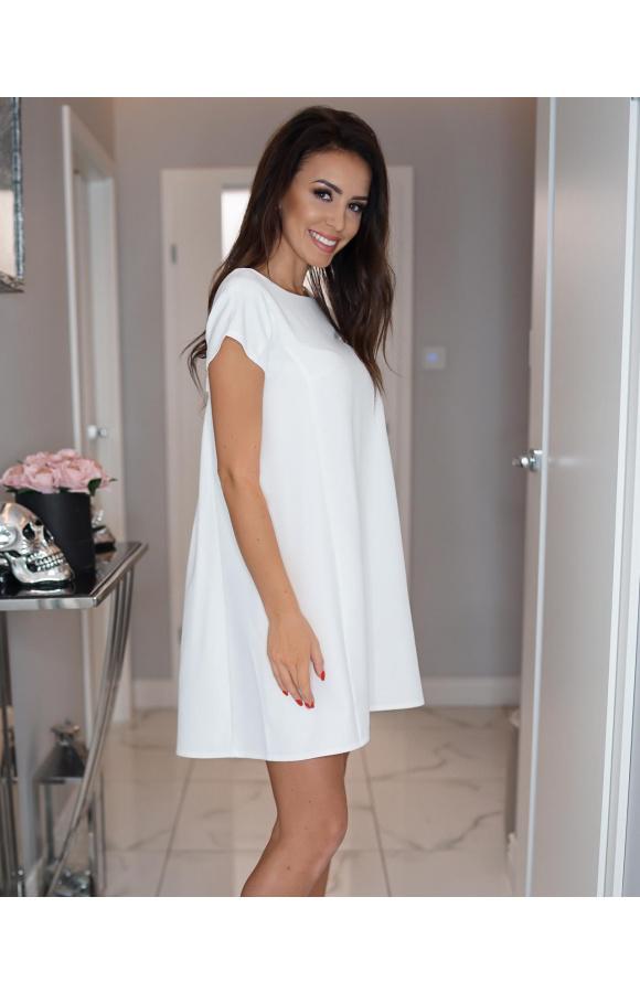 907b9229cf Trapezowa sukienka z kokardą KM183-5 - ❤ Kartes-Moda ❤