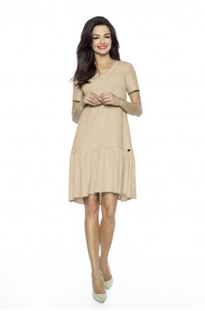 Oversizowa sukienka z falbaną KM226-4 BEŻ