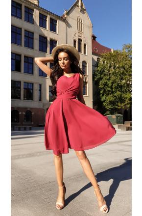 Sukienka Cudowna z szyfonu KM227-4 BORDO