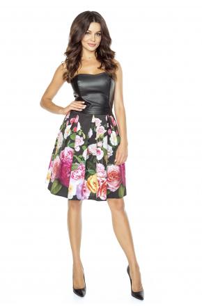 Sukienka w kwiaty ze skórzanym gorsetem km235