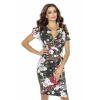 Sukienka w kwiaty z kopertowym dekoltem KM236