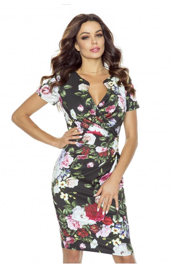 Ołówkowa, elegancka sukienka mini w kwiatowy print to świetna propozycja na lato!
