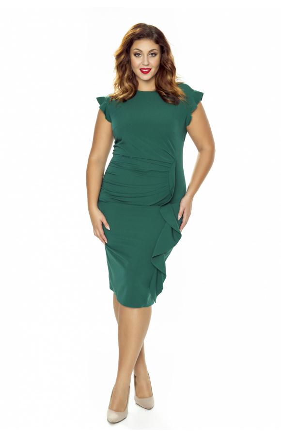 Efektowna sukienka do kolan z ozdobnymi falbanami. Dostępna także w wersji plus size.