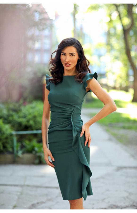 Zielona wizytowa sukienka midi z falbaną na wesele Km66-6