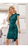 Opięta sukienka mini w kolorze butelkowej zieleni, idealna na wesele lub inną imprezę.