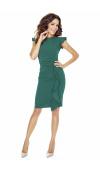 Sukienka bez rękawów ozdobiona falbanami przy ramionach i spódnicy.