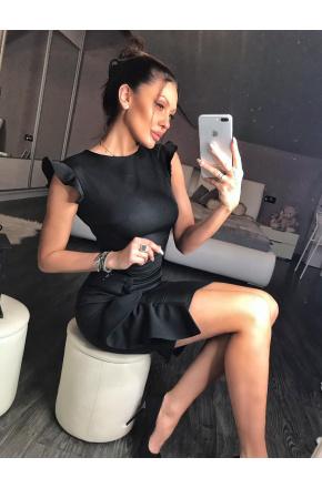 Czarna mini sukienka z falbaną na wesele Km66K
