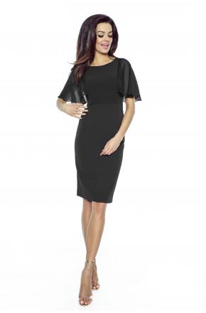 Klasyczna sukienka z szyfonowym rękawkiem KM240