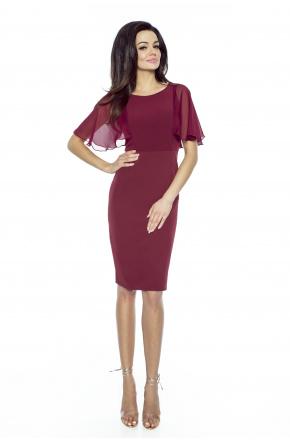 Klasyczna sukienka z szyfonowym rękawkiem KM240-4