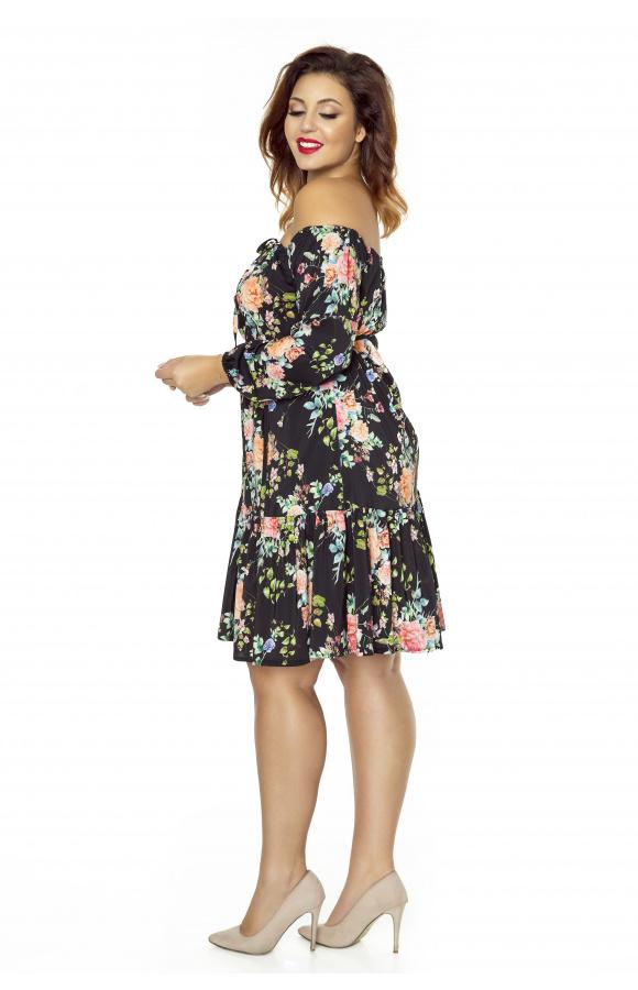 Sukienka w kwiaty boho km238ps ❤ Kartes Moda ❤