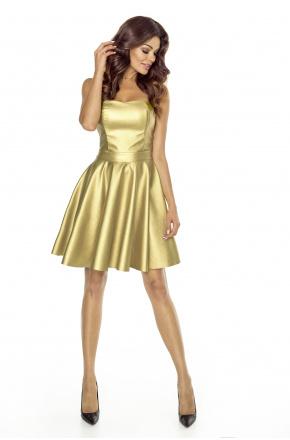 Złota gorsetowa skórzana sukienka km128-2